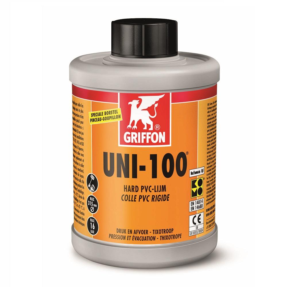 Uni-100 pvc lijm, grijze flacon, oranje etiket